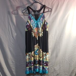 Summer tank dress with rope straps and razorback